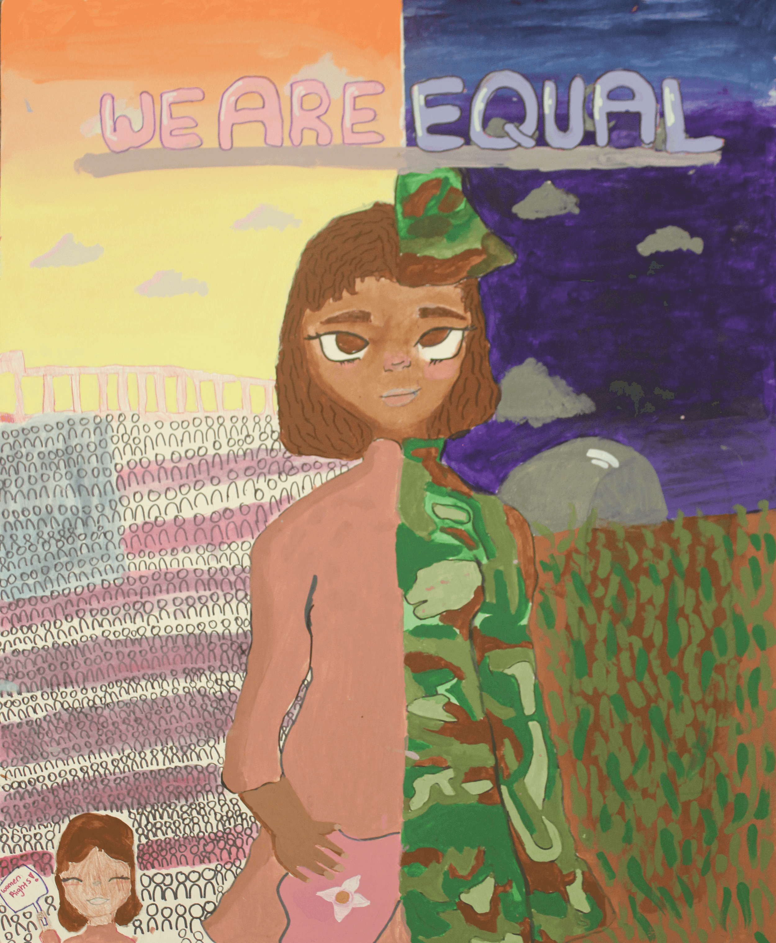 A young woman stands wearing a dress on one side and army fatigues on the other under the phrase we are equal