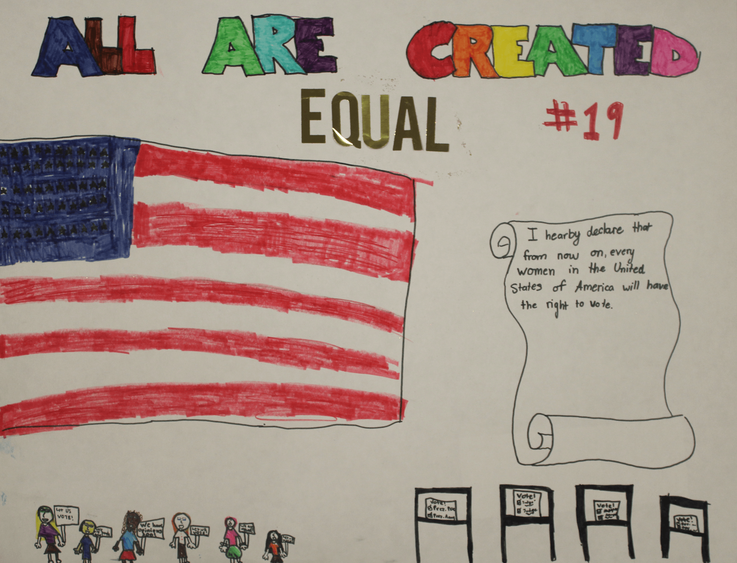 A drawing of the American flag under the title We Are Created Equal