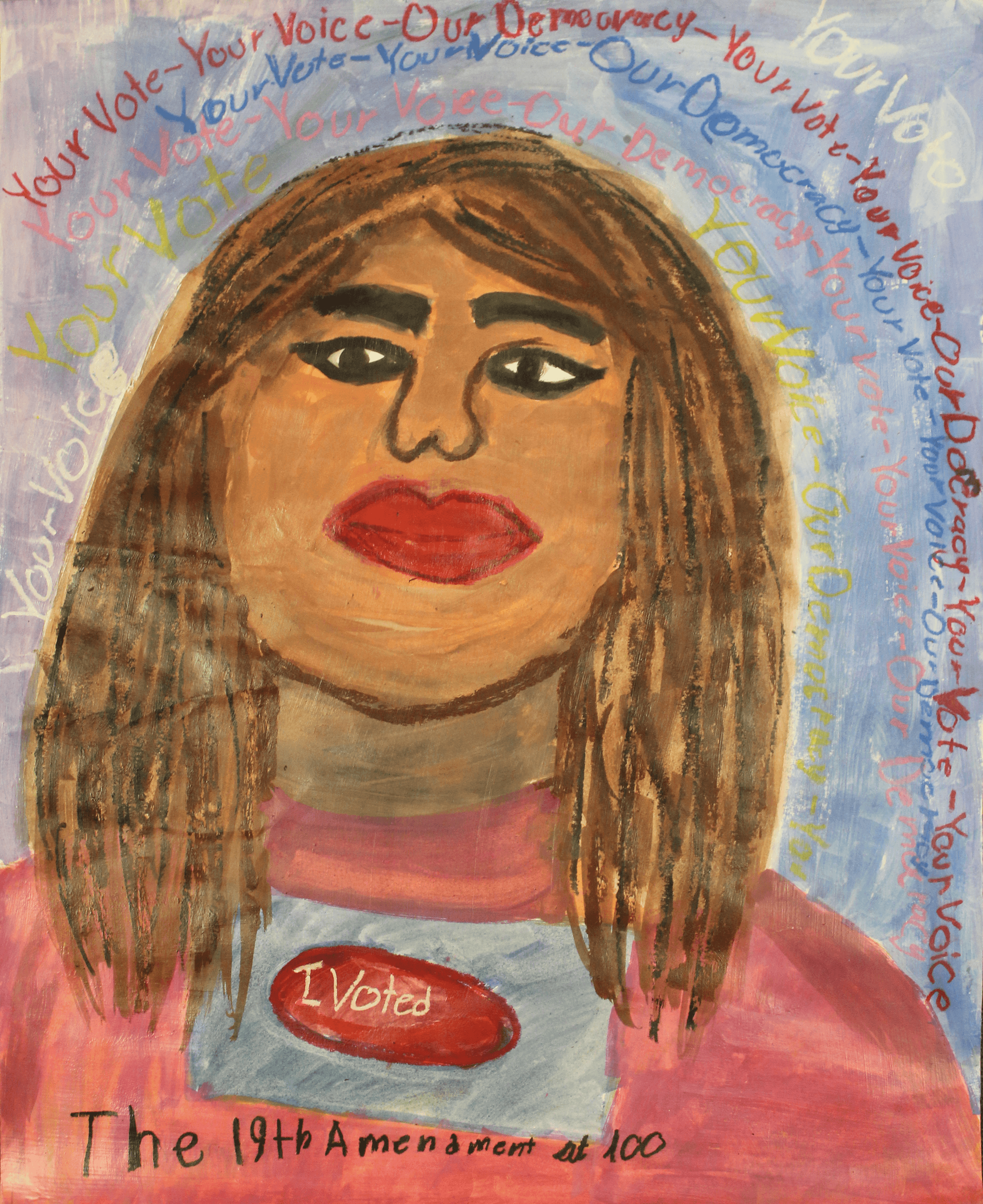 A drawing of a young woman from the shoulders up wearing a sticker that reads I voted