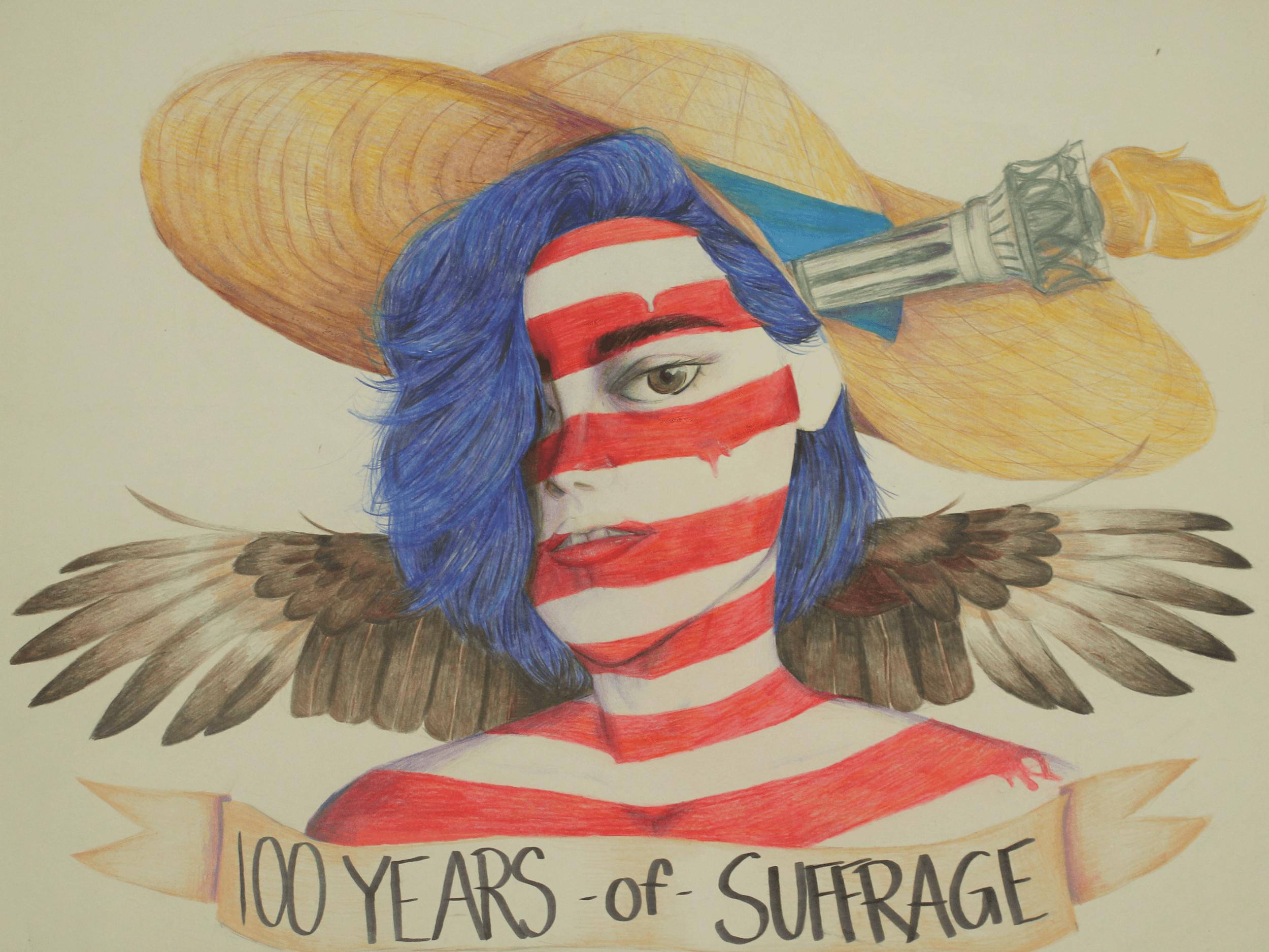 A young woman painted in red and white stripes with a banner that reads 100 years of suffrage