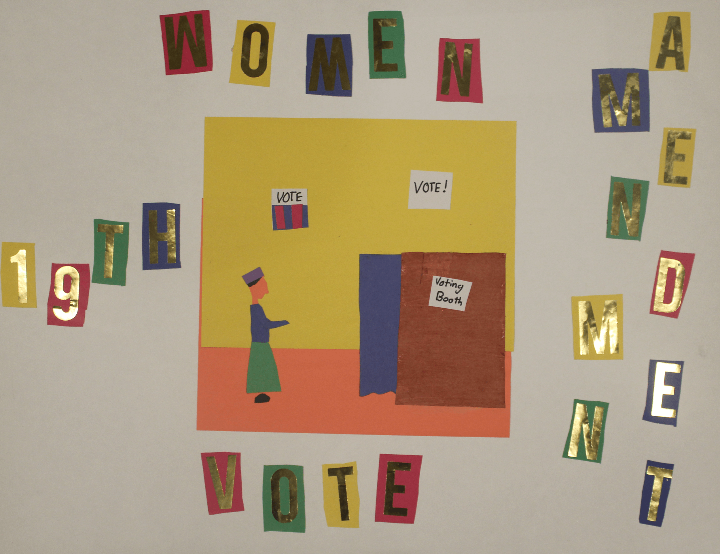 A construction paper collage of a woman at the voting booth with the title 19th Amendment Women Vote