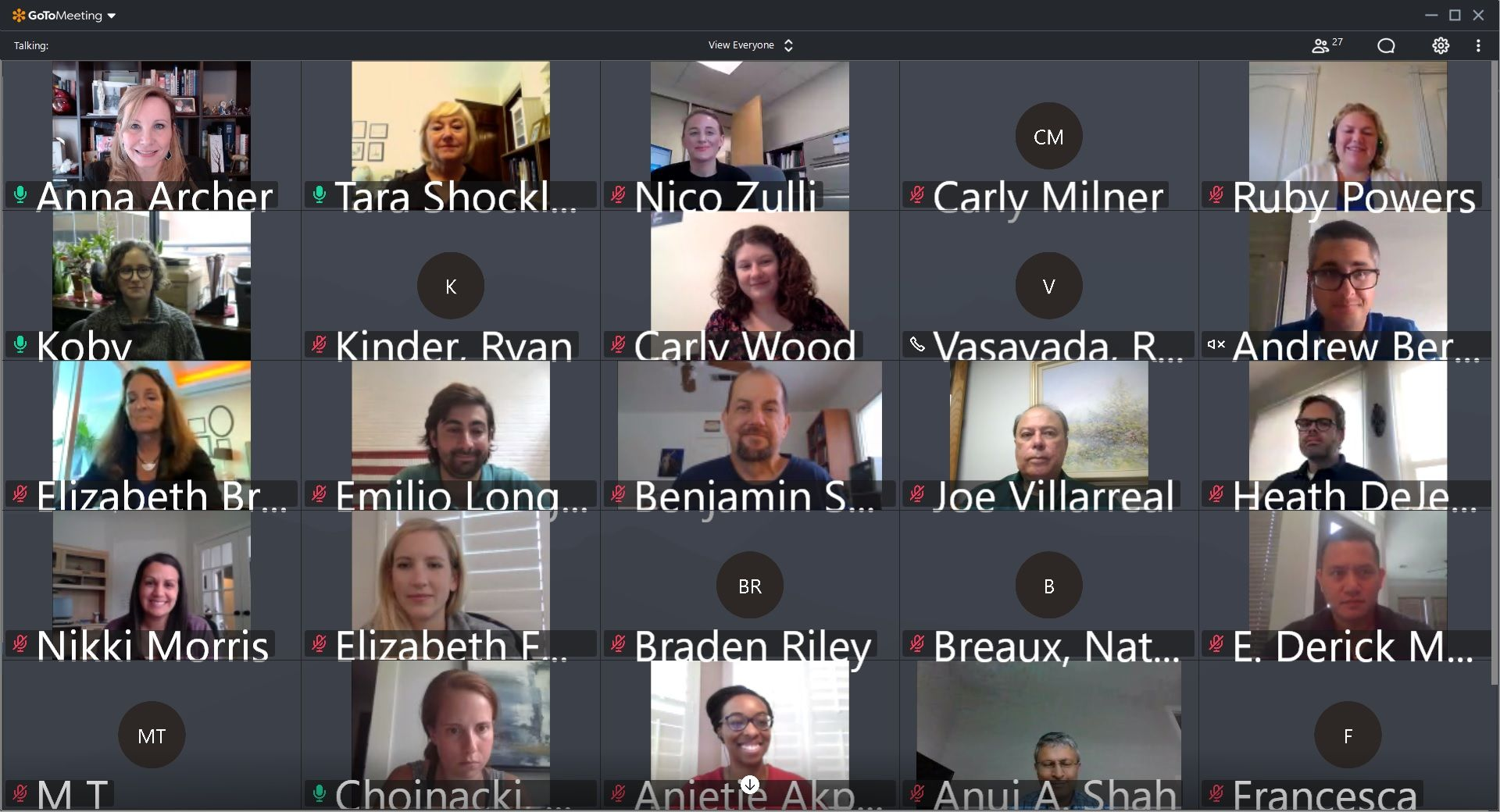 A screenshot of the virtual first meeting for the 2020-2021 editorial board