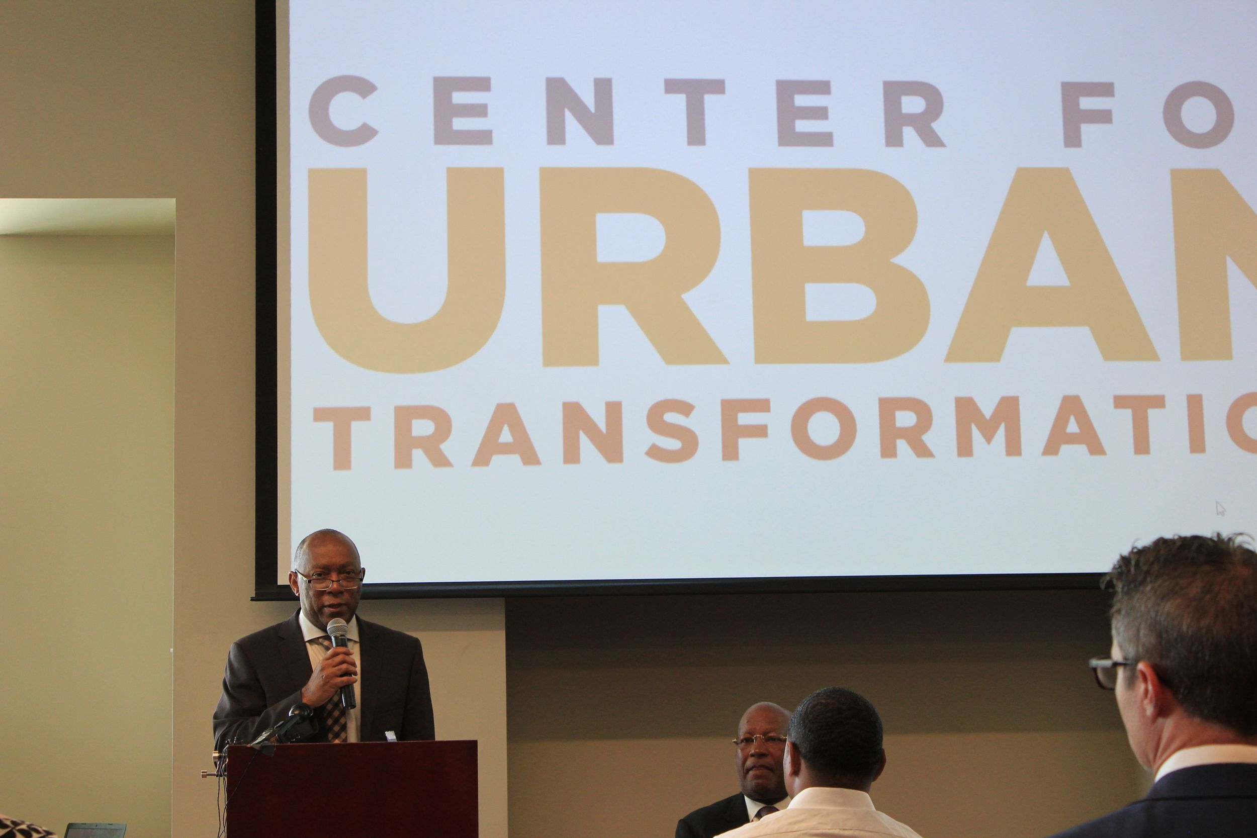 Houston Mayor Sylvester Turner introduces the Center for Urban Transformation at a press conference