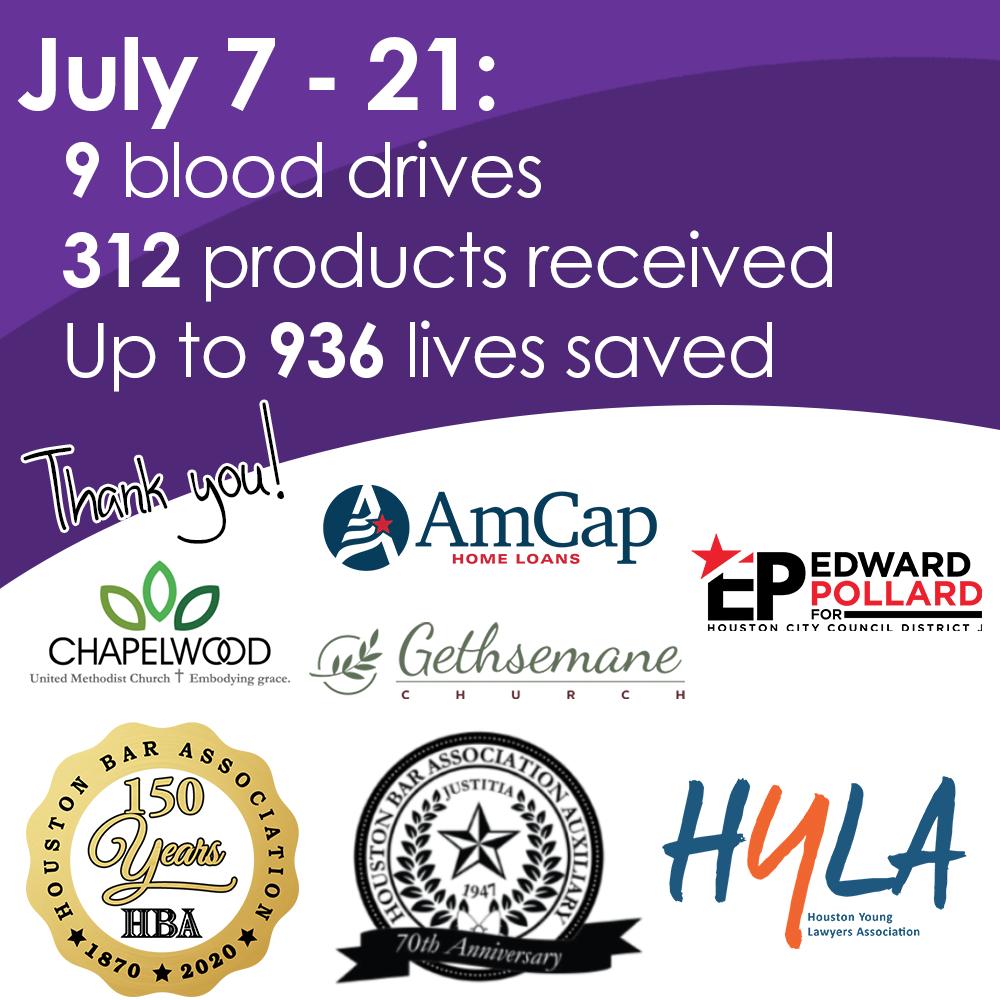 July blood drive statistics