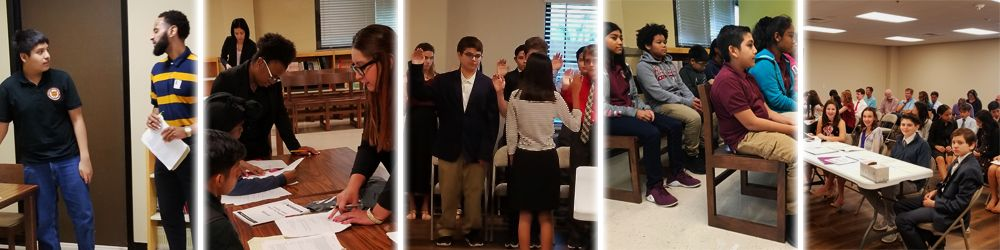 A row of photos from a recently-conducted mock trial.