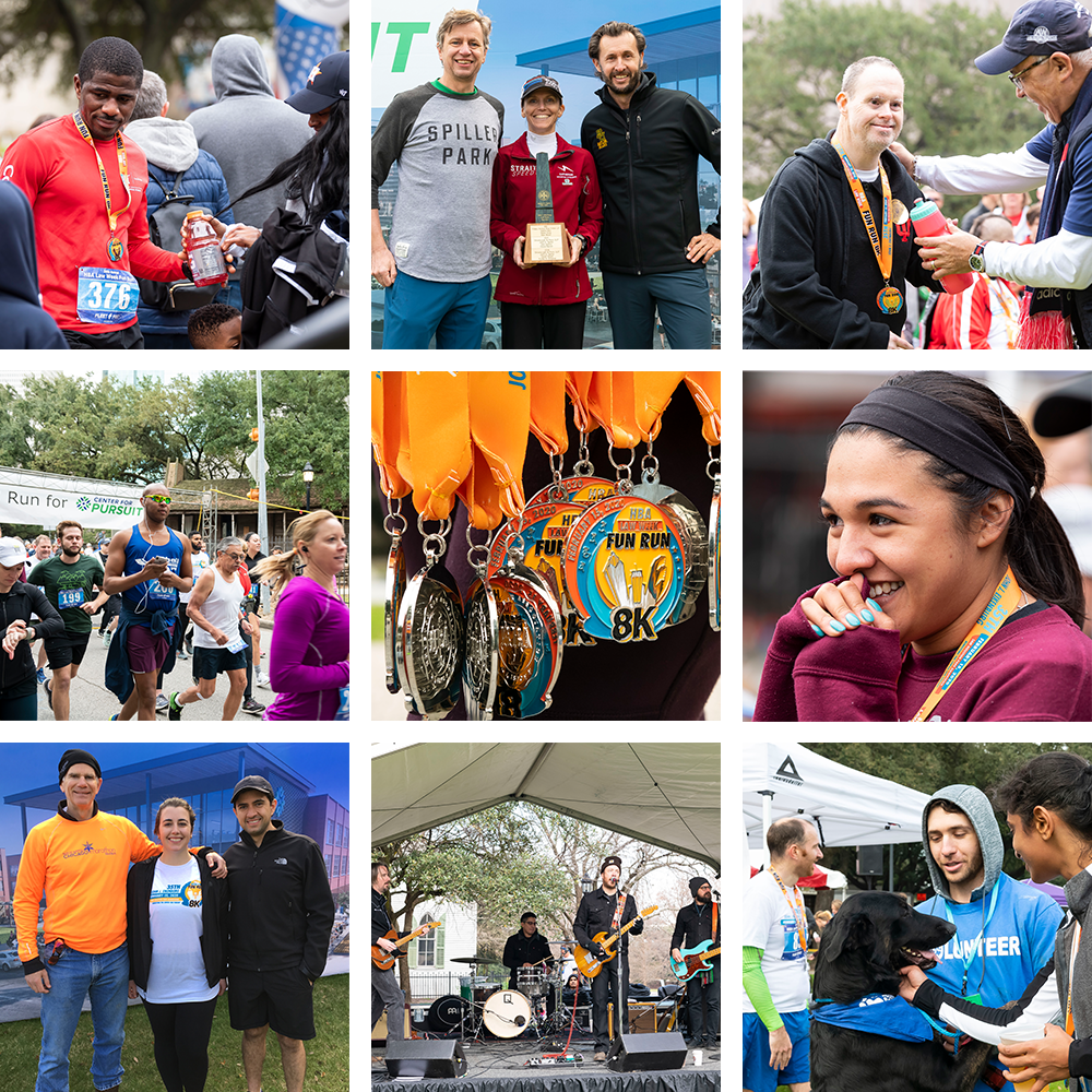 Collage of photos from the 2020 Fun Run