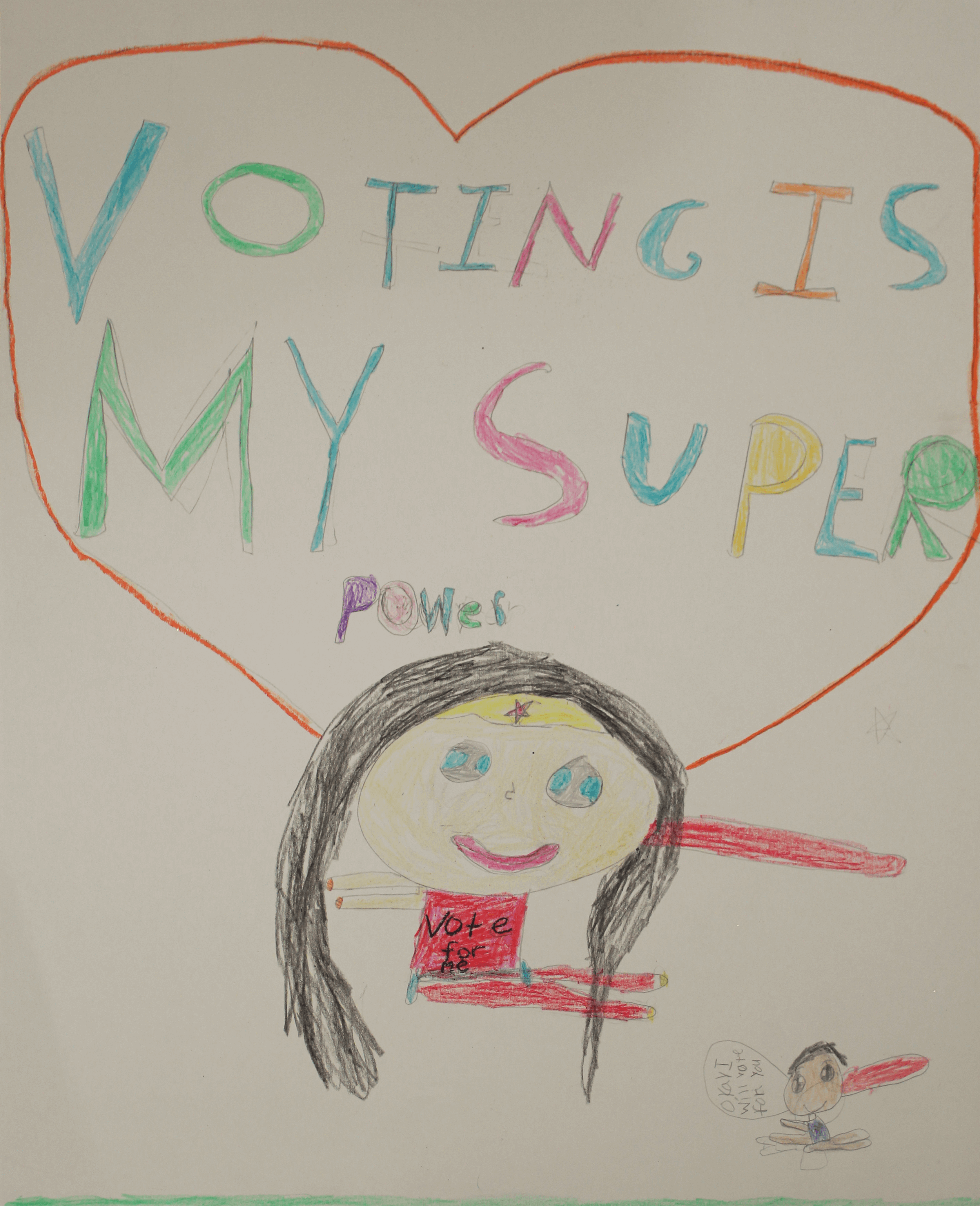 A drawing of Wonder Woman saying Voting Is My Super Power