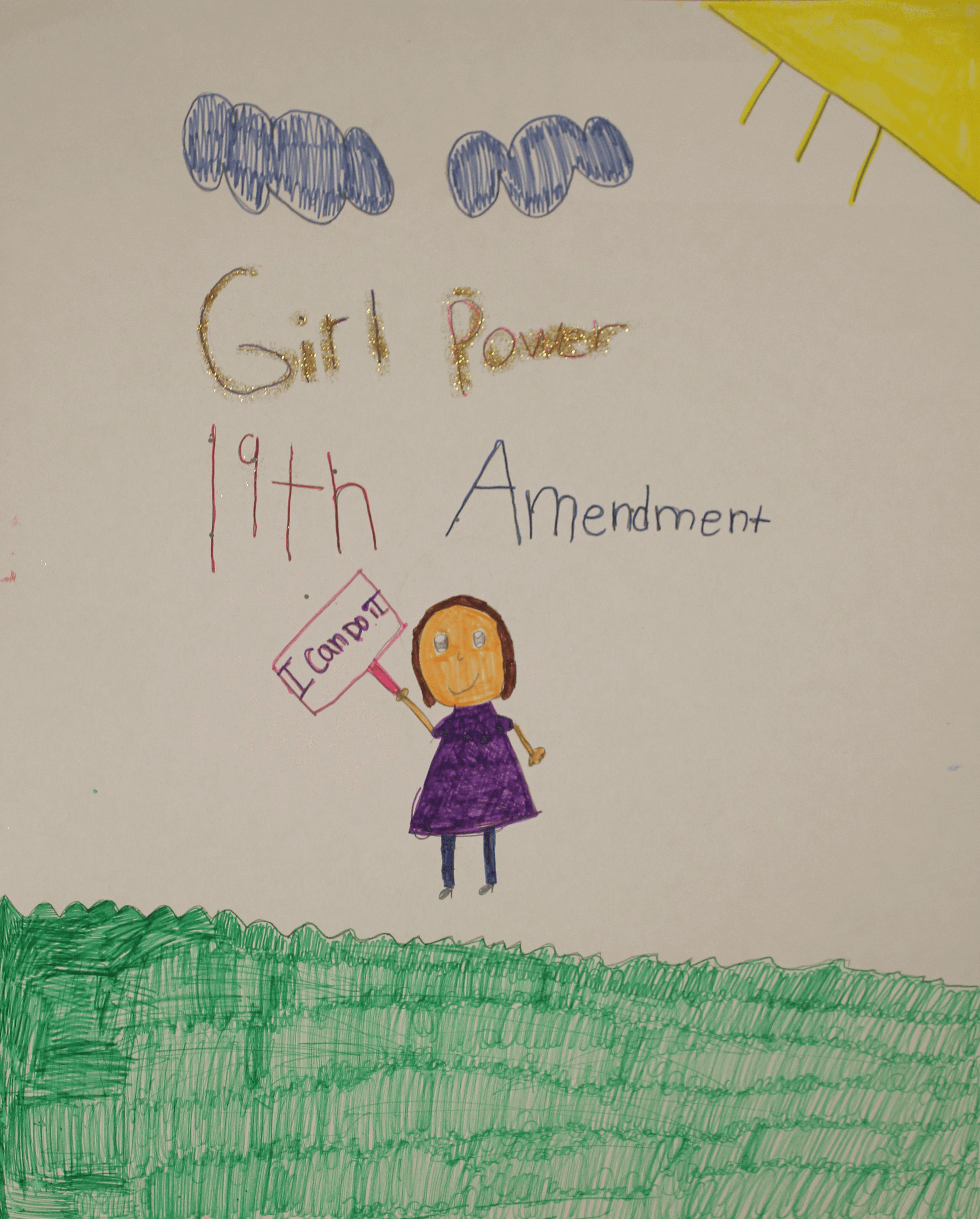A girl stands under the words Girl Power 19th Amendment
