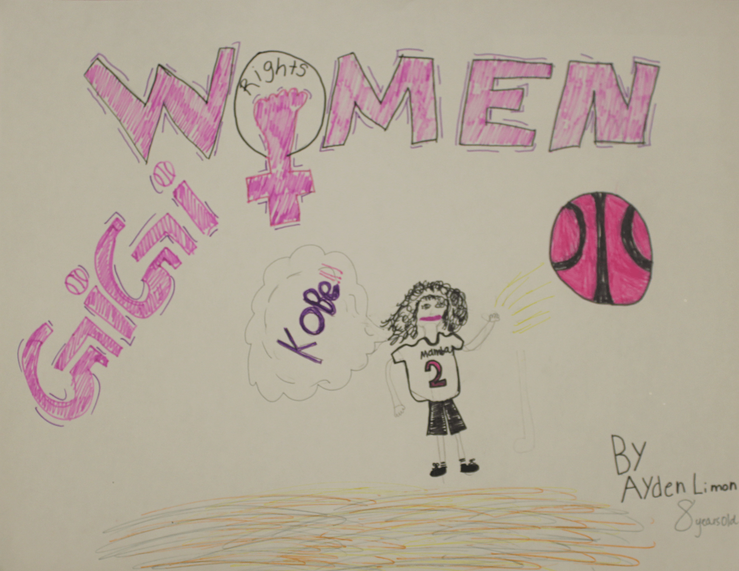 A drawing of the late Gianna Bryant under the words Women and Gigi