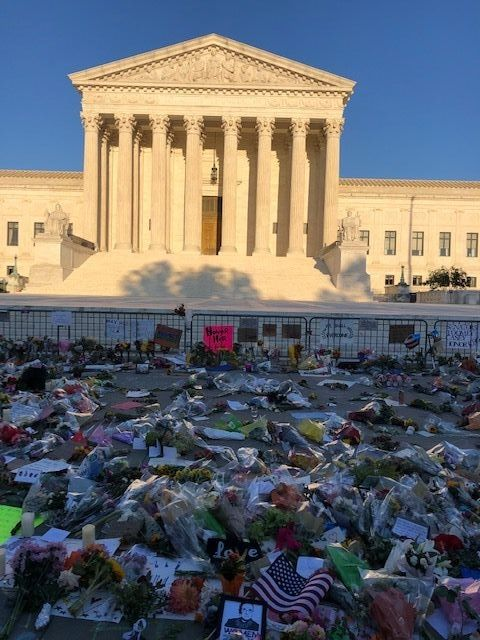 Photo of Justice Ginsburg memorial in front of SCOTUS