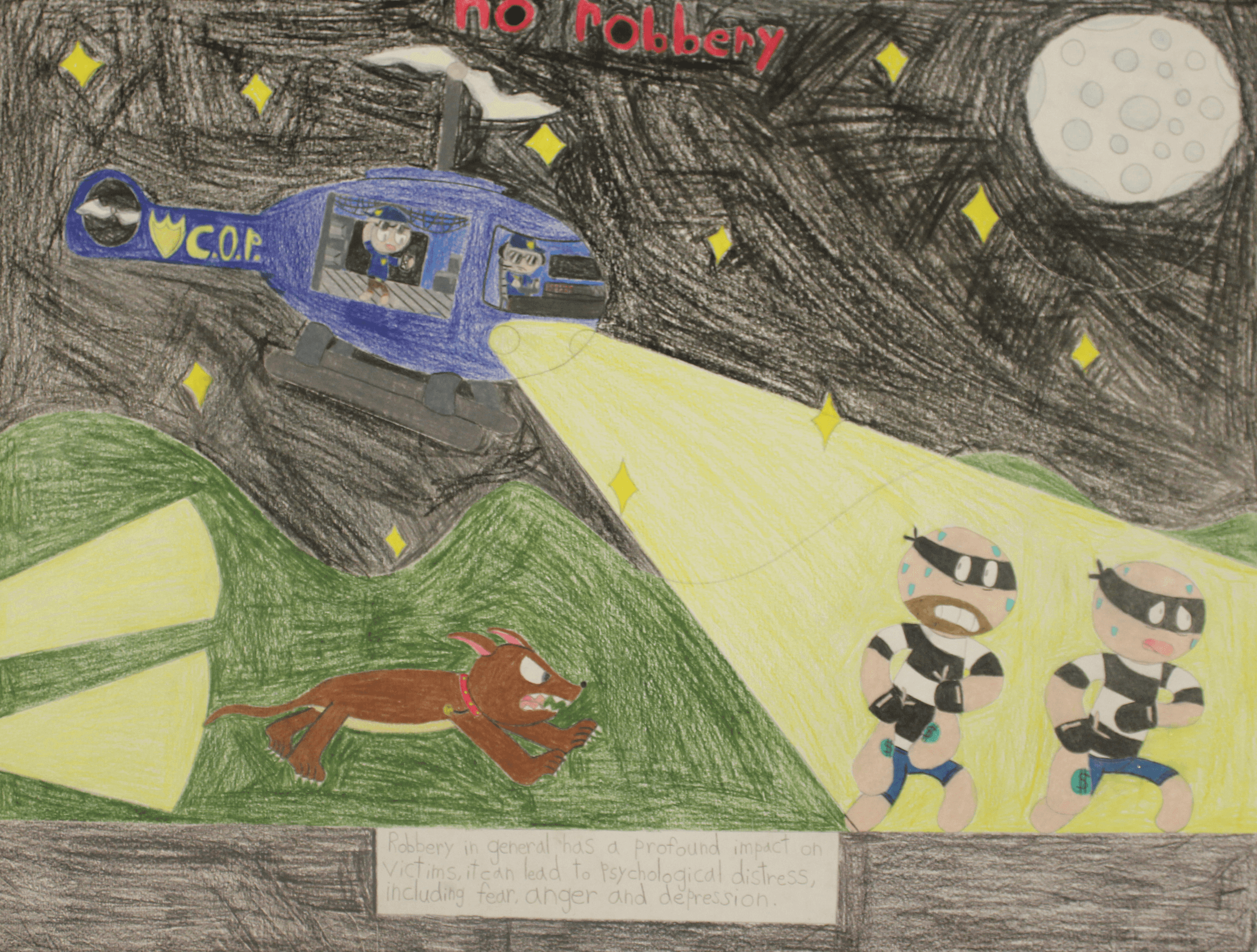A drawing of a police helicopter and dog chasing two robbers with the title No Robbery