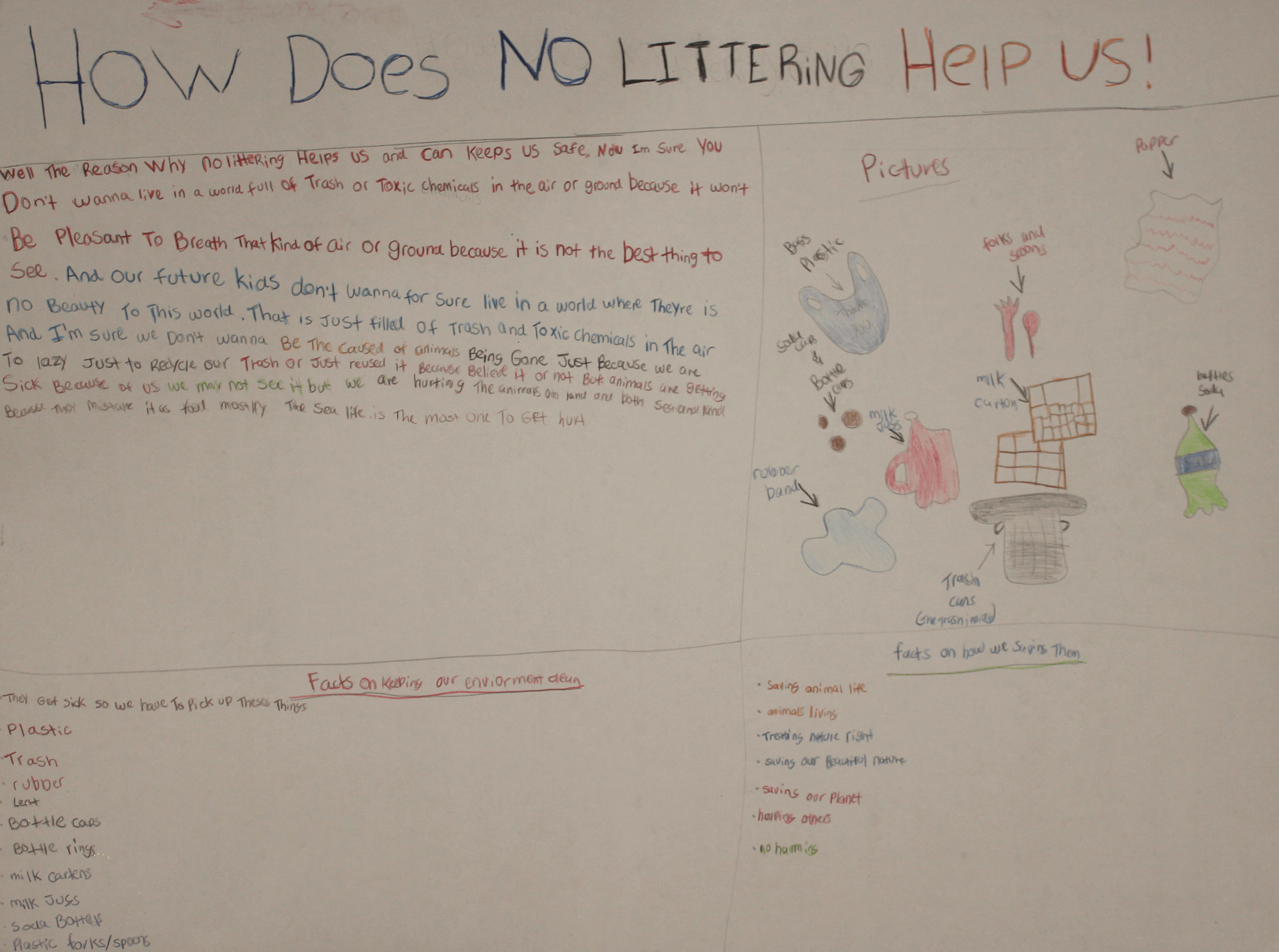 A poster listing benefits of anti-littering laws including illustrated examples