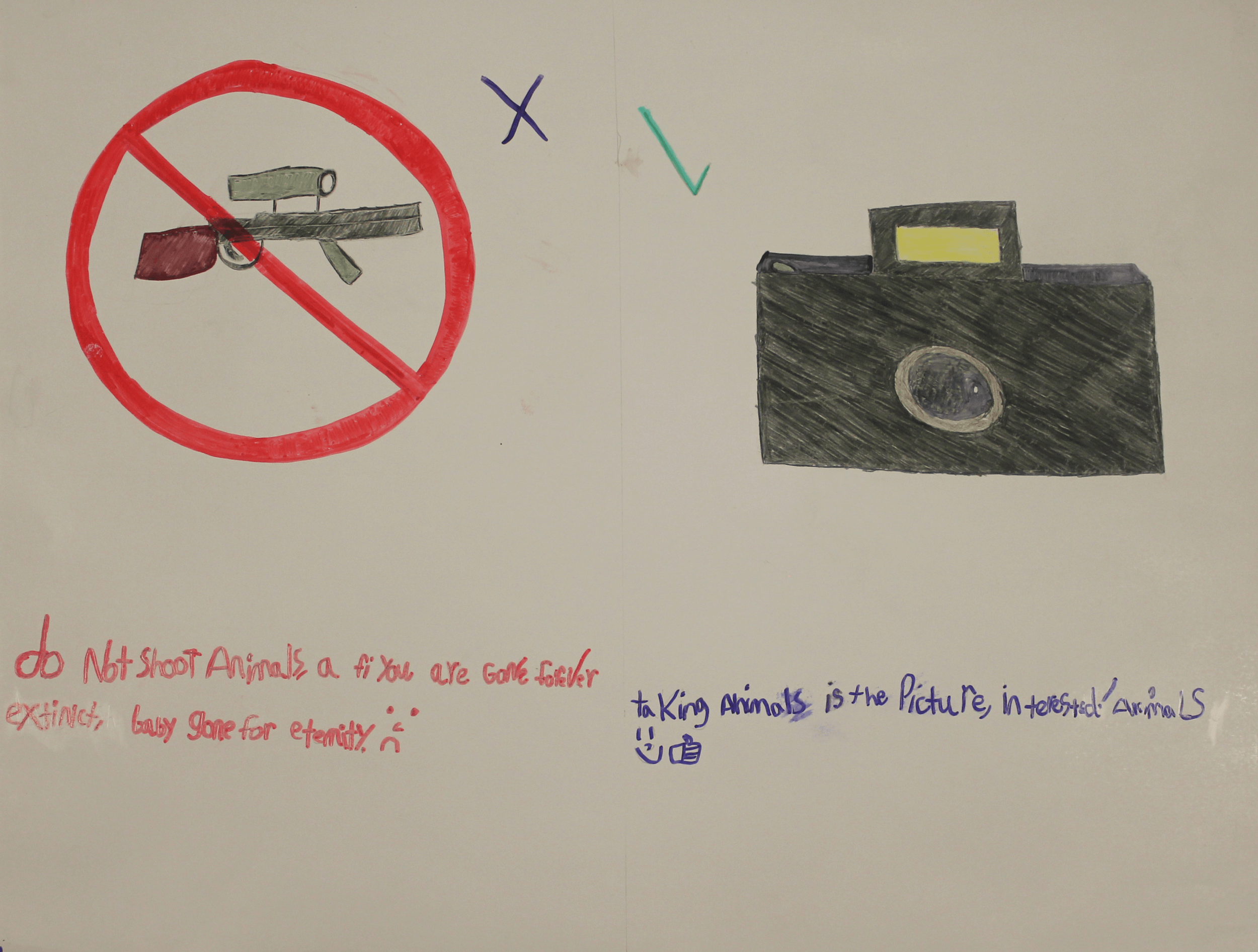 A poster illustrating why someone should shoot animals with a camera instead of a gun