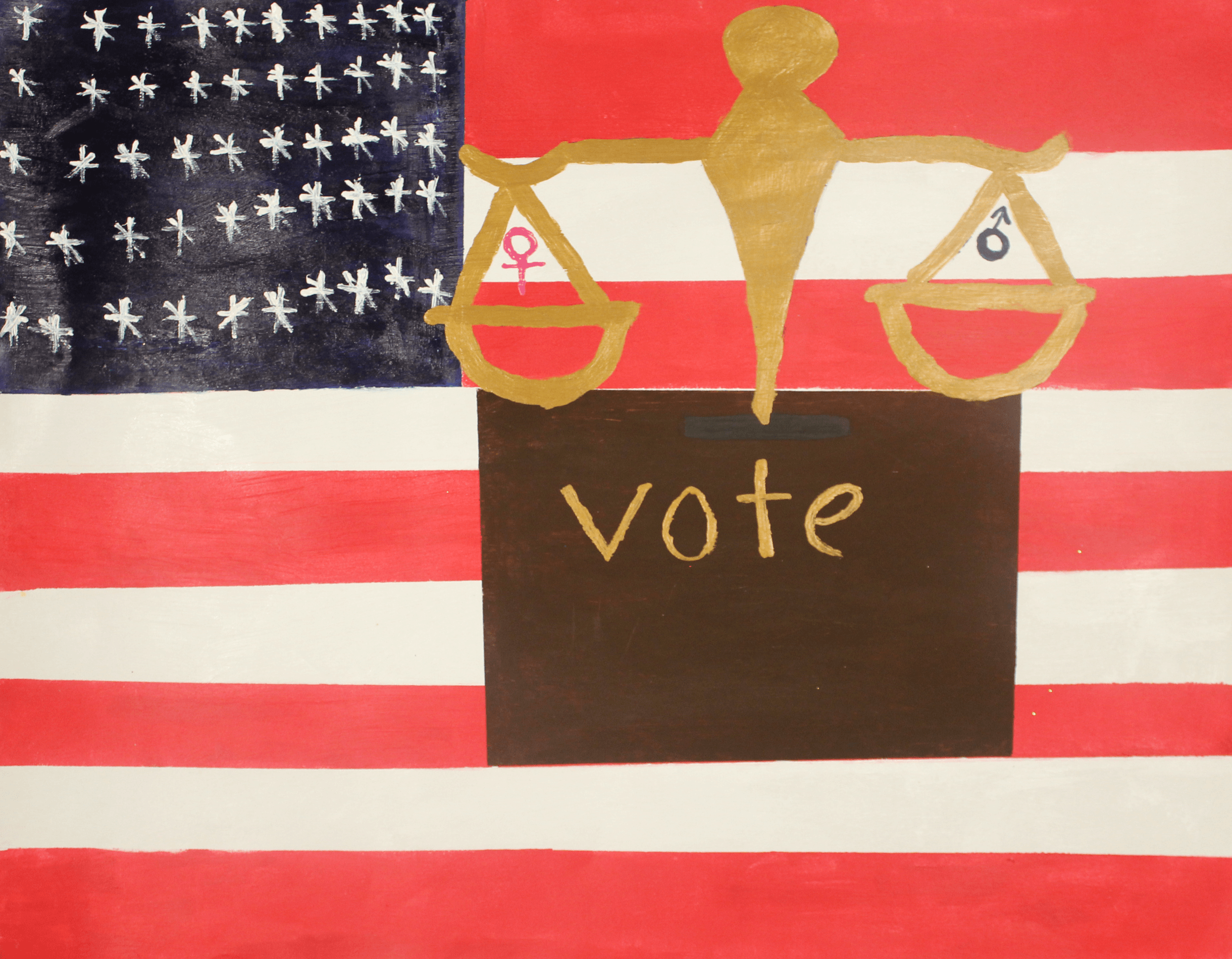 Balanced scales and the word Vote painted over an American Flag background