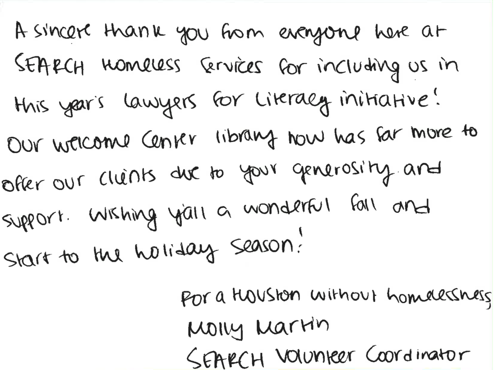 A thank-you note from book recipient SEARCH Homeless