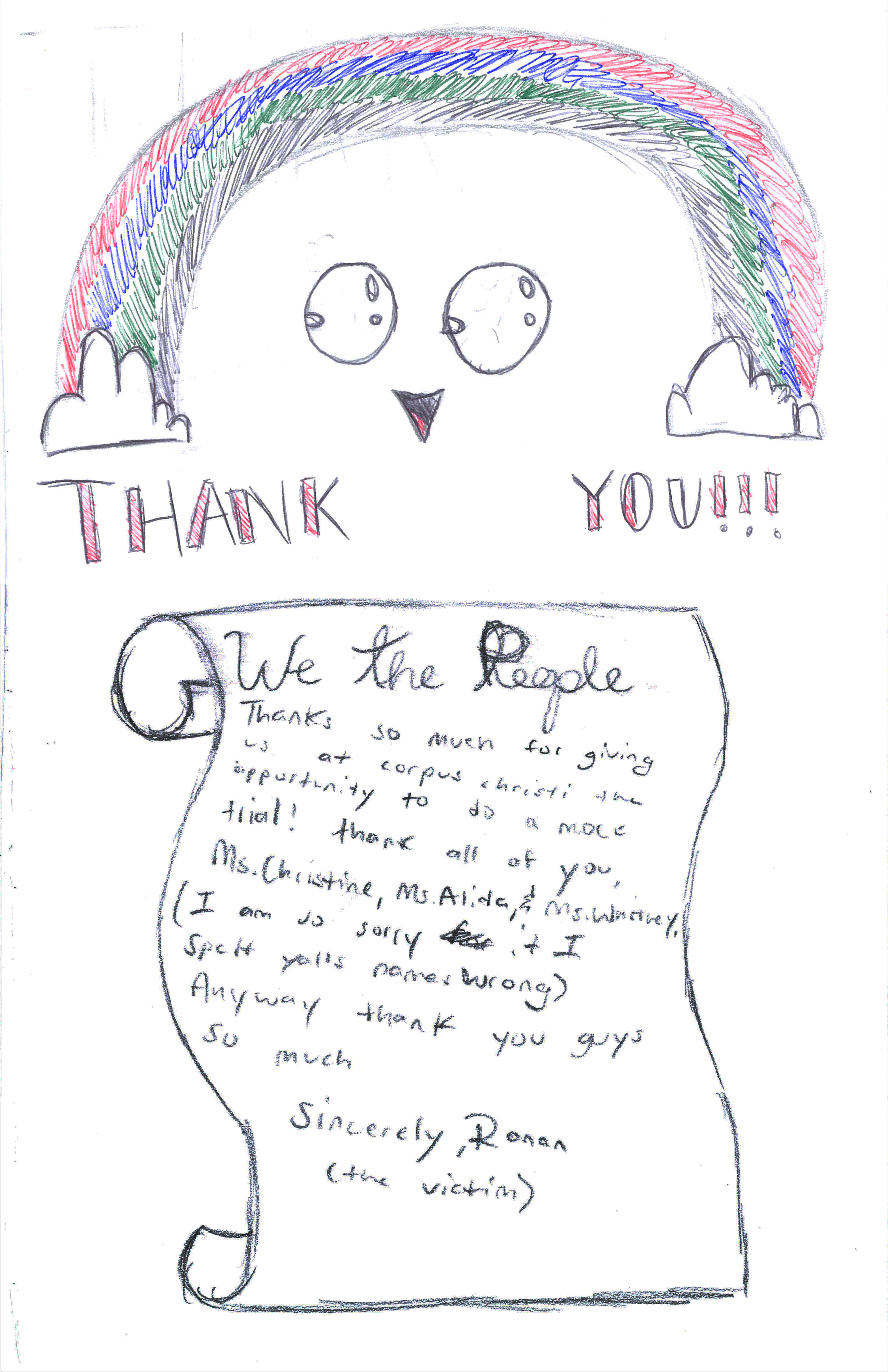 A thank-you note from a mock trial student
